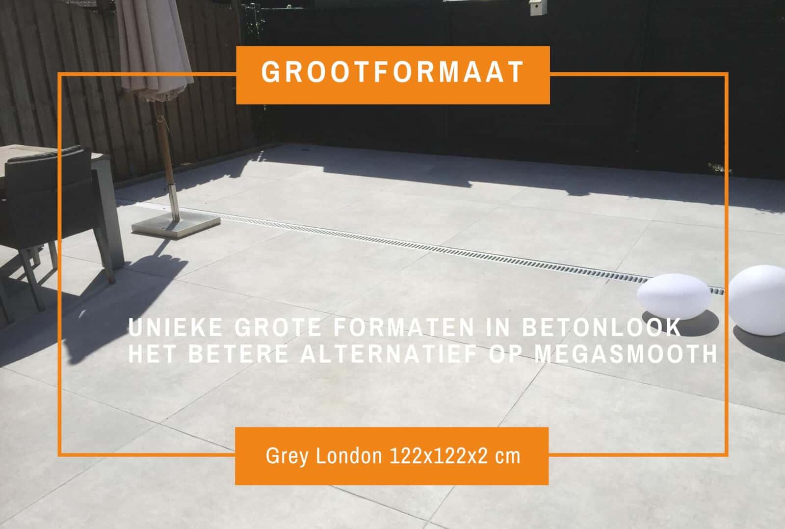 Artstone Grey London keramiek keramische tegel buitentegel terras grootformaat megasmooth smooth loftstone betonlook